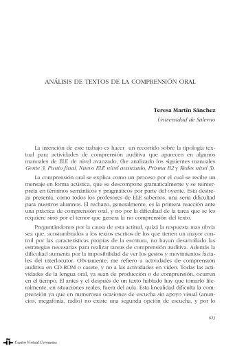 análisis de textos de la comprensión oral - Centro Virtual Cervantes
