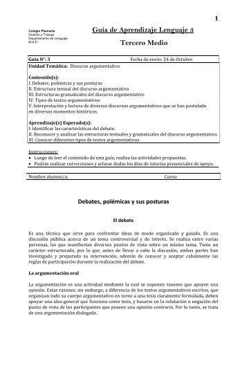 Guía de Aprendizaje Lenguaje 3 Tercero Medio - Colegio Piamarta