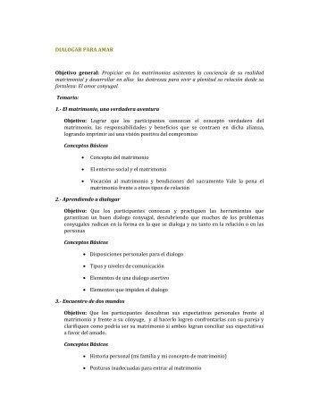 DIALOGAR PARA AMAR Objetivo general: Propiciar ... - Colmenares
