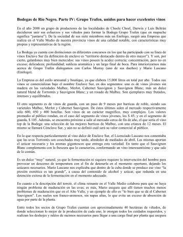 Bodegas de Río Negro. Grupo Trafen - Expo Vinos Bariloche
