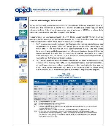 El fraude de los colegios particulares - Observatorio Chileno de ...