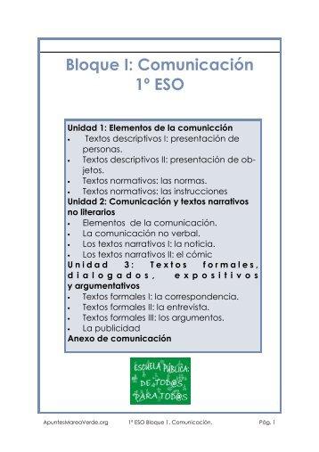 Bloque I: Comunicación 1º ESO - Apuntes Marea Verde