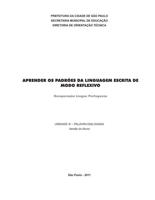 Unidade III - Palavra Dialogada - Aluno - Secretaria Municipal de ...