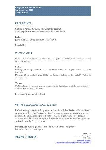 Programación de actividades Septiembre de 2011 Museo Sorolla ...