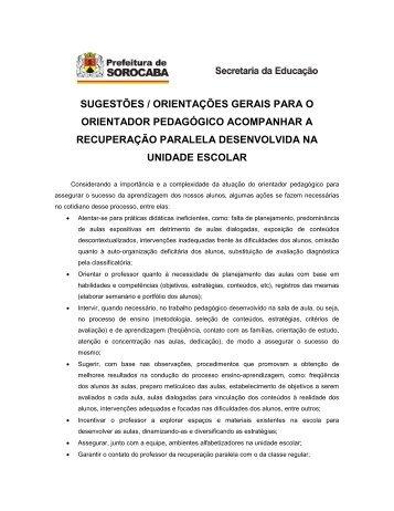 sugestões / orientações gerais para o orientador - Secretaria da ...