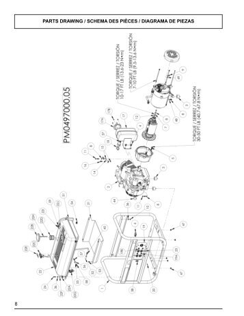 8 parts drawing / schema des pièces / diagrama de ... - Powermate