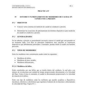 Medidores de Caudal en Flujo a Presión - Universidad del Cauca