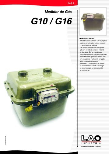 Descrição Detalhada O Medidor de Gás G10/G16 ... - LAO INDÚSTRIA