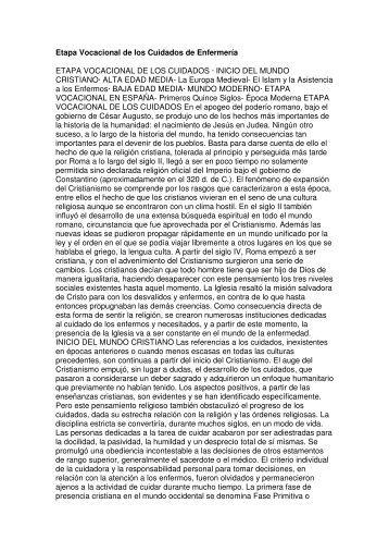 Etapa Vocacional de los Cuidados de Enfermería ETAPA ...