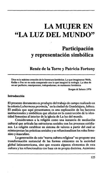 """LA MUJER EN """"LA LUZ DEL MUNDO"""" - Estudios sobre las Culturas ..."""