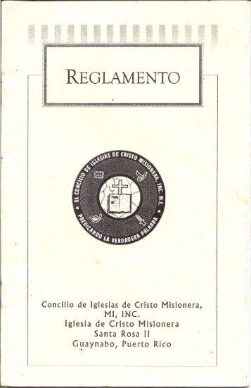 Reglamento Local - Iglesia De Cristo Misionera,MI Santa Rosa II