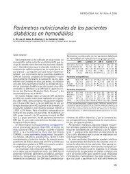 Parámetros nutricionales de los pacientes diabéticos en ... - Nefrología