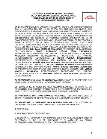 ACTA DE LA SEXTA SESIN ORDINARIA - Instituto Federal Electoral
