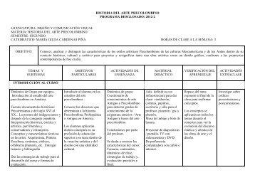 historia del arte precolombino programa desglosado: 2012-2 ...