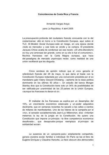 Dos textos de Armando Vargas Araya. - Portal de Estudios Sociales ...