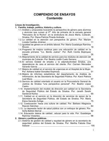 COMPENDIO DE ENSAYOS Contenido - Instituto Nacional de las ...