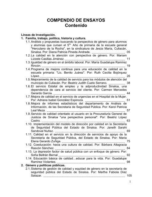 Compendio De Ensayos Contenido Instituto Nacional De Las