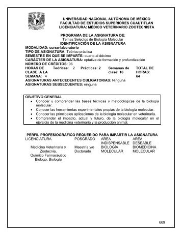 1035 Temas Selectos de Biología Molecular - Facultad de Estudios ...