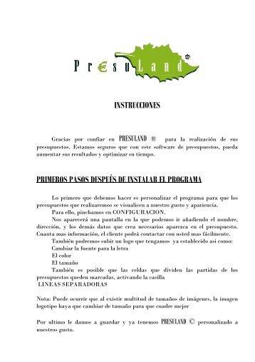 INSTRUCCIONES PRIMEROS PASOS DESPUÉS DE ... - Presuland