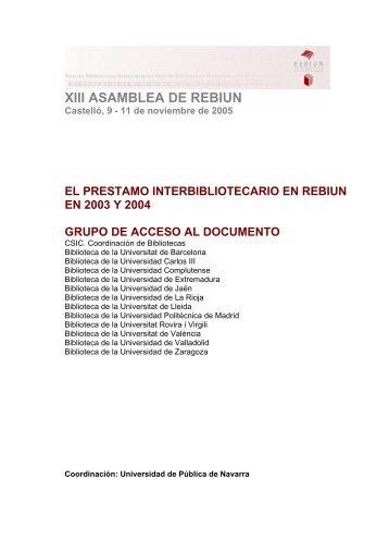 Préstamo Interbibliotecario - Rebiun