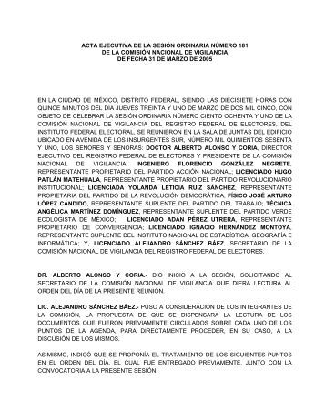 acta ejecutiva de la sesin ordinaria numero 146 - Instituto Federal ...