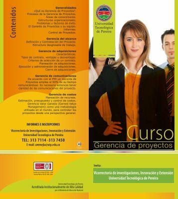 Plegable gerencia de proyectos - Universidad Tecnológica de Pereira