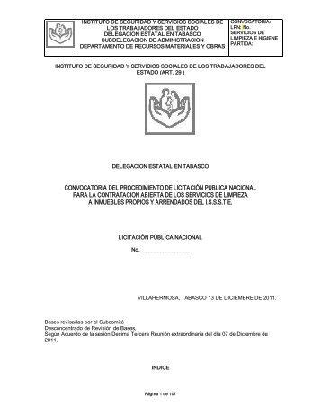 convocatoria del procedimiento de licitación pública ... - issste
