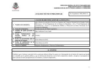 análisis técnico preliminar - publicación del dictamen en Gaceta ...