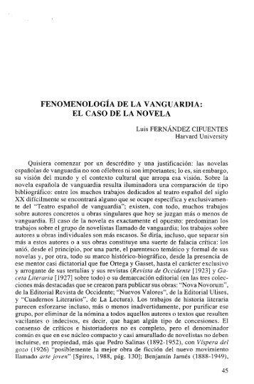 fenomenología de la vanguardia: el caso de la novela - RUA