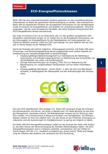 ECO-Energieeffizienzklassen - Riello UPS GmbH