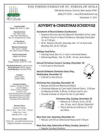 ADVENT & CHRISTMAS SCHEDULE - St Teresa of Avila Parish