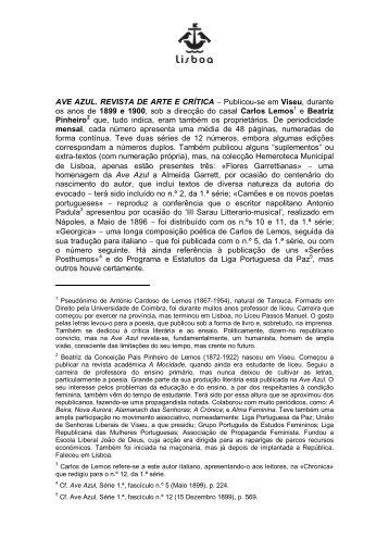 Ave Azul: revista de arte e critica - Hemeroteca Digital