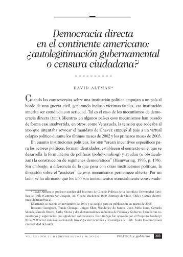 Democracia directa en el continente americano: ¿autolegitimación ...