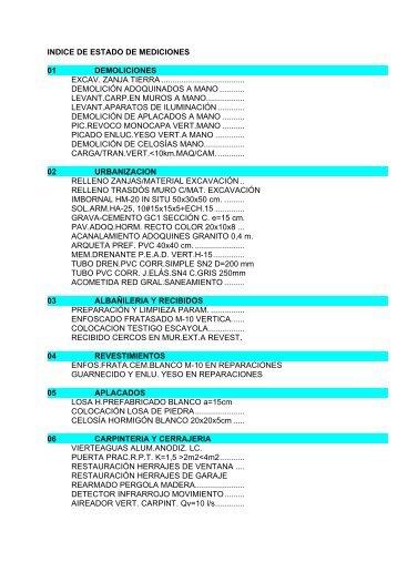 INDICE DE ESTADO DE MEDICIONES 01 DEMOLICIONES EXCAV ...