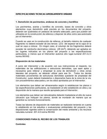 Especificaciones t cnicas demolicion andenes placas y for Amoblamiento urbano