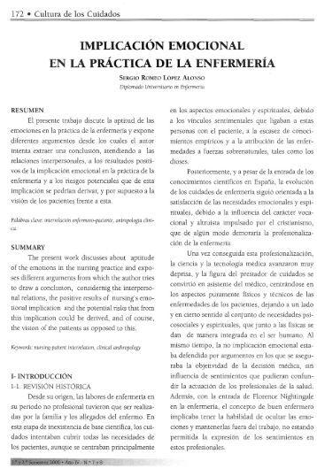 implicación emocional en la práctica de la enfermería - RUA