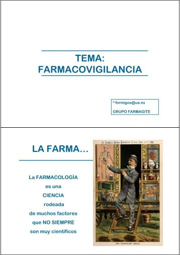 TEMA: FARMACOVIGILANCIA - RUA