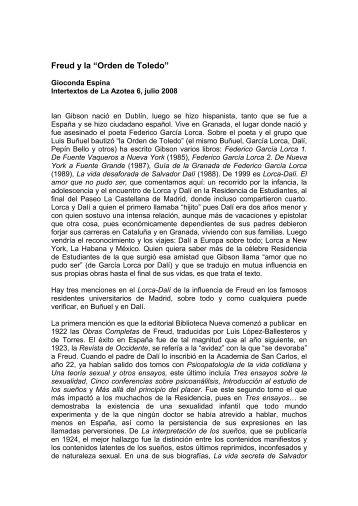 """Freud y la """"Orden de Toledo"""" - Gioconda Espina"""