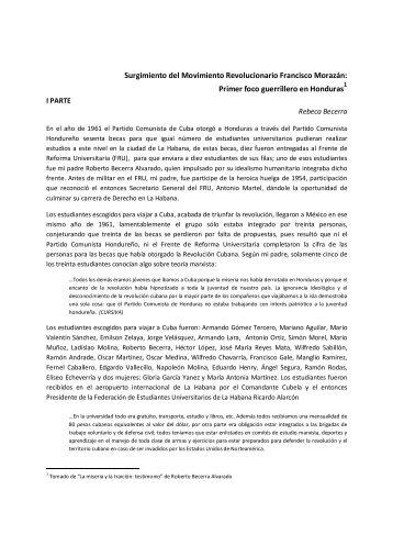 El Movimiento Revolucionario Francisco Morazan - Centro de ...