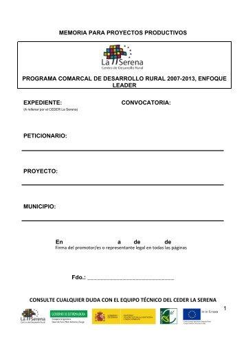 Modelo de Memoria para proyectos productivos 1/2 - Ceder La Serena