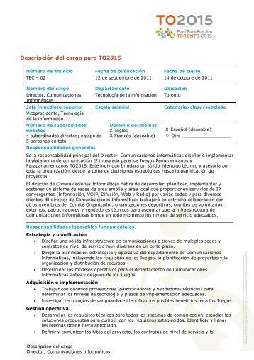 Descripción del cargo para TO2015
