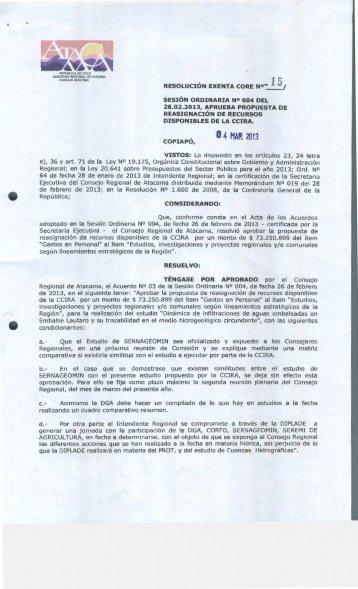 O 4 MAR. 2013 - Gobierno Regional de Atacama