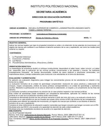 Manejo de Patentes y Marcas - ESCA Tepepan - Instituto Politécnico ...