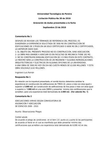 Universidad Tecnológica de Pereira Licitación Pública No 30 de ...