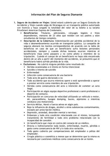 Información del Plan de Seguros Diamante - BAC