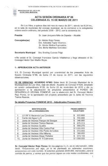 acta sesión ordinaria n° 88 celebrada el 15 de marzo de 2011