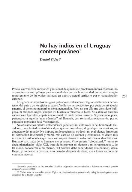 No hay indios en el Uruguay contemporáneo - Unesco