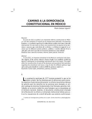 CAMINO A LA DEMOCRACIA CONSTITUCIONAL EN MÉXICO - Itam
