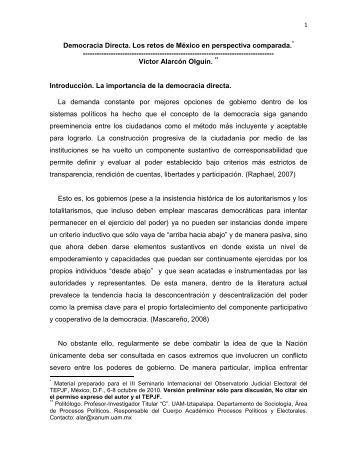 Democracia Directa. Los retos de México en perspectiva comparada ...