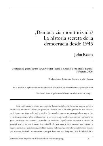 ¿Democracia monitorizada - John Keane